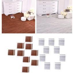 18Pcs Wood Grain Floor Mat Interlocking Flooring Tiles for H