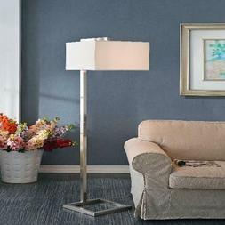 Kenroy Home 4 Square Floor Lamp, Brushed Steel
