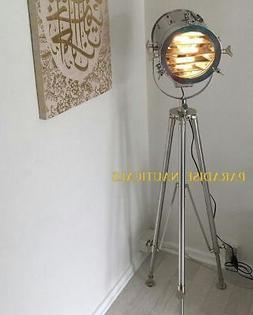 Chrome Nautical Floor Lamp Handmade Home Tripod Stand Spot S