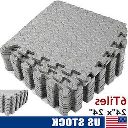 """EXERCISE FLOOR MAT 24""""x 24"""" Puzzle Rug Gym Fitness Workout E"""