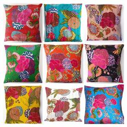 Indian Handmade Floral Home Decor Floor Kantha Embroidery Cu