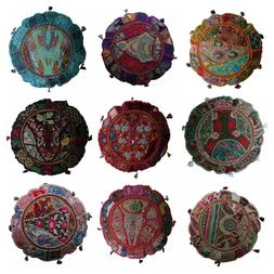 Indian Handmade Floor Round Home Decor Pillow Vintage Patchw