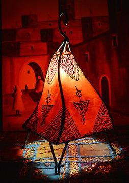 Moroccan Floor Lamp Henna Goat Skin Handmade Decorative Home