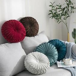 Round Velvet Pleated Pumpkin Pillow Couch Cushion Home Floor