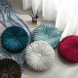 Round Velvet Pleated Pumpkin Pillows Couch Cushion Home Floo